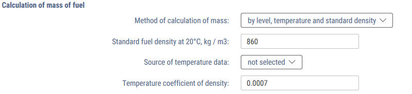 Method by level, temperature, and rated density