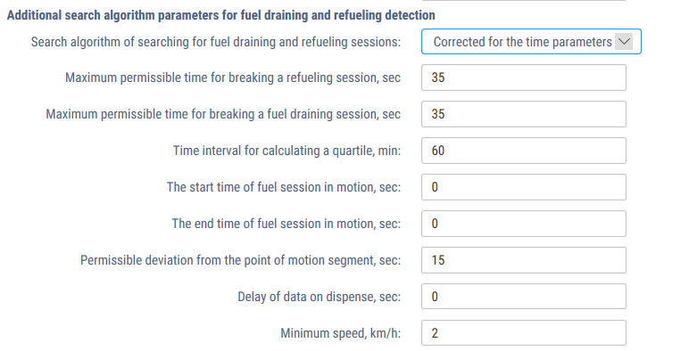 Search algorithm parameters for fuel draining and refueling detection