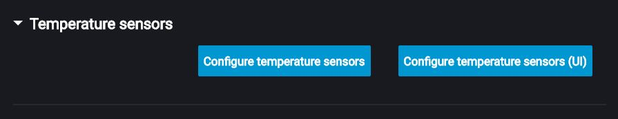 Settings of temperature sensors